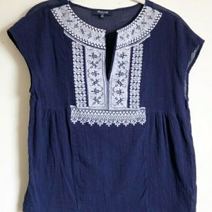 Madewell navy and white embroidered top